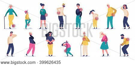People Suffering From Pain. Adult, Elderly And Children Characters In Stomach Ache, Headache, Back P