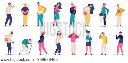 Injured People. Adult Characters Suffering From Pain, Injuries And Aches, Fractures And Head Injurie