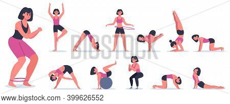 Fitness And Yoga. Sportive Young Woman Doing Fitness And Yoga, Pilates Workout And Yoga Asanas. Heal