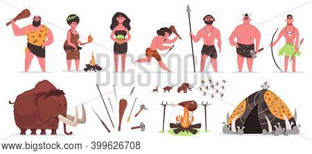 Primitive People. Stone Age Prehistoric Caveman Characters With Stone Or Wooden Weapon. Caveman Hunt