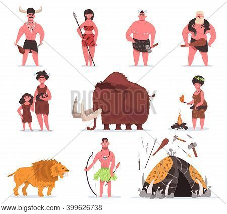 Stone Age Characters. Caveman, Primitive Characters, Ancient Animals And Weapons Tool. Primitive Pre