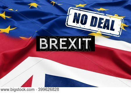 No Deal Brexit, England Going Out Of The European Union Without Agreement Or A Trade Deal. Half Grea
