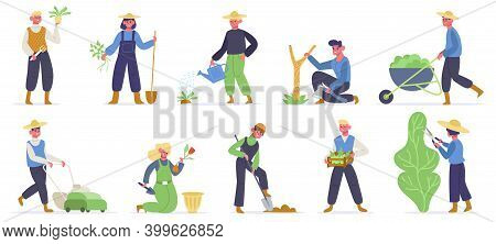 Gardening Characters. Farm Workers, Gardener Planting, Watering And Gathering Agriculture Plants And