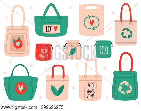 Reusable Bags. Fabric Recycling Symbol Shopping Bags, Zero Waste Hand Drawn Ecology Shoppers. Eco Fr