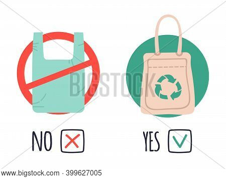 Plastic And Eco Bags. Pollution Polythene Problem, Say No To Plastic Bags, Stop Using Cellophane Bag