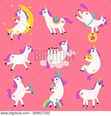 Cute Unicorn Characters. Doodle Rainbow Unicorns, Fairy Tale Funny Baby Unicorn Mascots. Fantasy Mag
