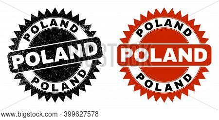 Black Rosette Poland Stamp. Flat Vector Grunge Stamp With Poland Caption Inside Sharp Rosette, And O