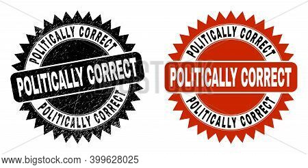 Black Rosette Politically Correct Watermark. Flat Vector Distress Watermark With Politically Correct