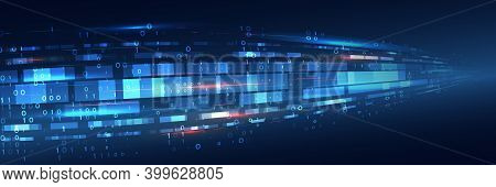 Hi-tech Business Presentation. Big Data Concept. Cyber Security For Business And Internet Project. A