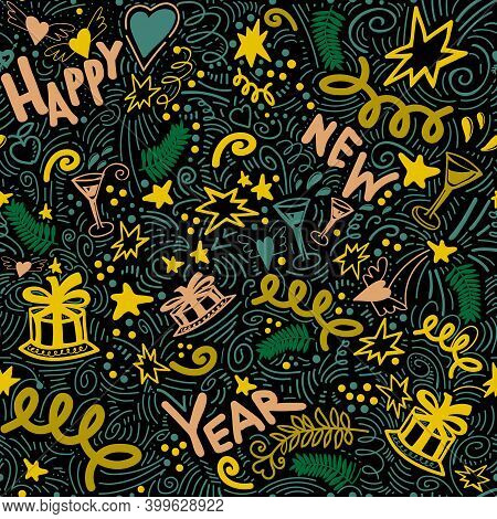 Merry Christmas Seamless Pattern With Colored Doodles And Lettering Happy New Year Words. Garlands,