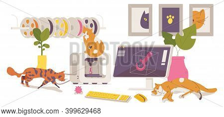 Various Cats With Prosthesis Made With 3d Printer. Interior Scene With Artist Or Designer Workplace