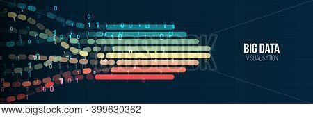 Big Data Visualization Banner. Abstract Background With Lines Array And Binary Code. Connection Stru