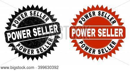 Black Rosette Power Seller Watermark. Flat Vector Distress Seal With Power Seller Title Inside Sharp