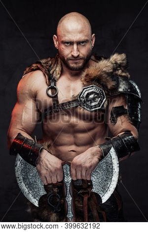 Armed With Huge Double Axe Dangerous And Hairless Viking Barbarian In Lights Armour With Fur Poses L
