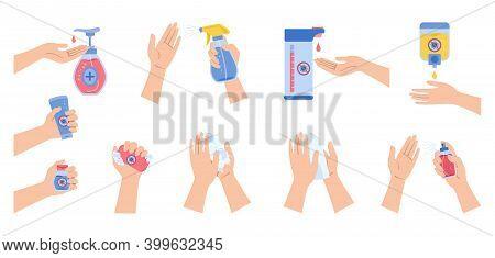 Coronavirus Infographic Hands Use Spray Sanitizer Wash Soap