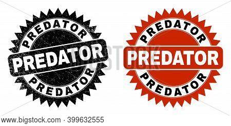 Black Rosette Predator Seal Stamp. Flat Vector Scratched Seal Stamp With Predator Message Inside Sha