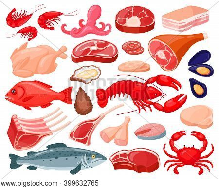 Meat Food. Cartoon Seafood And Butcher Shop Food, Shrimps, Salmon, Lobster, Prime Rib, Bacon And Bee