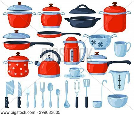 Kitchenware Tools. Kitchen Cooking And Baking Utensils, Saucepan, Frying Pan, Cutlery, Kettle And Co