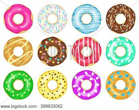 Cartoon Donuts. Sweet Glaze And Sprinkle Donuts, Chocolate Donut With Sugar Icing. Delicious Colorfu