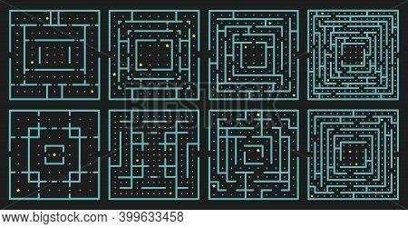 Maze Arcade Game. Rectangle Labyrinth Puzzle, Arcade Maze Conundrum, Children Educational Maze Game.