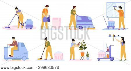 Cleaning Service. Cleaning Team Vacuuming, Washing Floor And Windows. Professional Cleaners Clean Of
