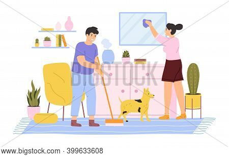 House Cleaning. Young Couple Cleaning And Washing House, Daily Home Routines. Domestic Housekeeping