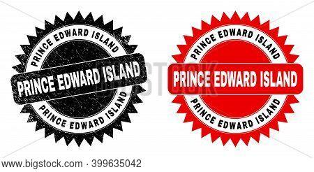 Black Rosette Prince Edward Island Seal Stamp. Flat Vector Grunge Seal Stamp With Prince Edward Isla