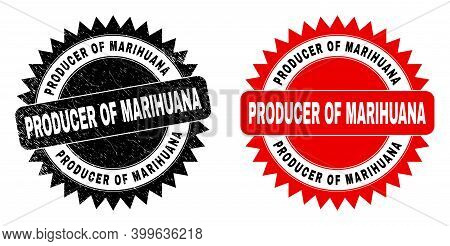 Black Rosette Producer Of Marihuana Stamp. Flat Vector Scratched Watermark With Producer Of Marihuan