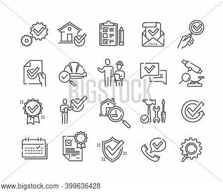 Simple Set Of Black And White Inspection Related Vector Line Icons. Check, Testing, Endorsing, Exami