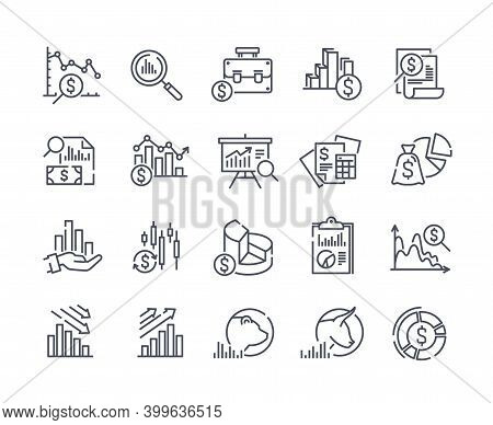 Set Of Financial Analytics Related Vector Line Icons. Gainers And Losers, Portfolio Analysis, Financ