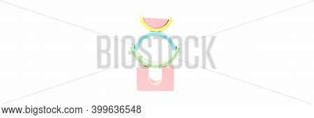 Banner With Wooden Figures. Childrens Wooden Construction Kit. Figures From A Multi-colored Wooden C