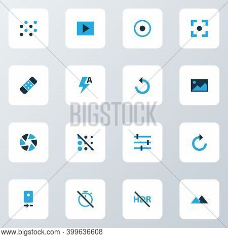 Picture Icons Colored Set With Slideshow, Chronometer, Circle And Other Reload Elements. Isolated Ve