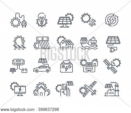 Solar Panel Outline Icon Set. Sun Power Photovoltaic Pv Home System And Renewable Electric Energy Te