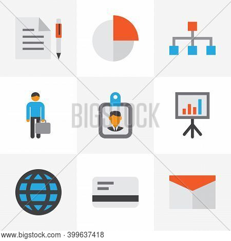 Business Icons Flat Style Set With Structure, Whiteboard, Businessman And Other Id Badge Elements. I