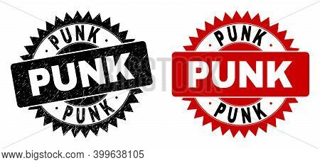 Black Rosette Punk Watermark. Flat Vector Textured Stamp With Punk Text Inside Sharp Rosette, And Or