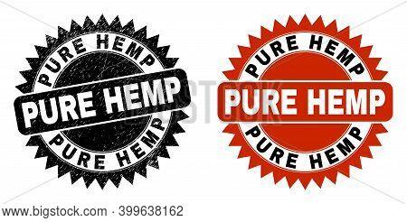 Black Rosette Pure Hemp Seal Stamp. Flat Vector Grunge Seal Stamp With Pure Hemp Title Inside Sharp