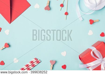 Happy Saint Valentines Day Composition Concept. Above Overhead Top Close Up View Photo Of Giftbox He