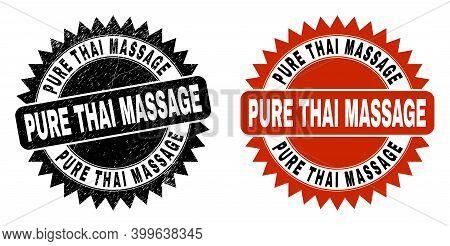 Black Rosette Pure Thai Massage Seal Stamp. Flat Vector Grunge Seal Stamp With Pure Thai Massage Phr