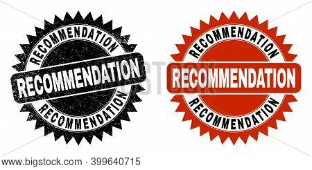 Black Rosette Recommendation Seal. Flat Vector Distress Seal With Recommendation Caption Inside Shar