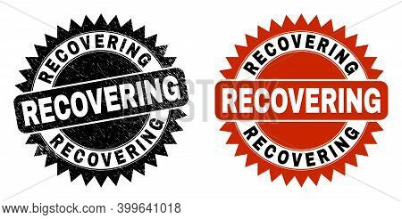 Black Rosette Recovering Seal. Flat Vector Distress Watermark With Recovering Caption Inside Sharp R