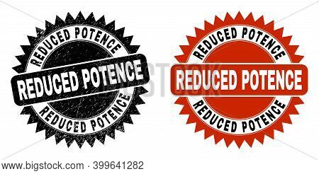 Black Rosette Reduced Potence Seal. Flat Vector Textured Seal With Reduced Potence Message Inside Sh