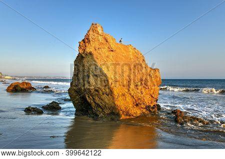 El Matador State Beach Seascape In Malibu Beach California At Sunset.