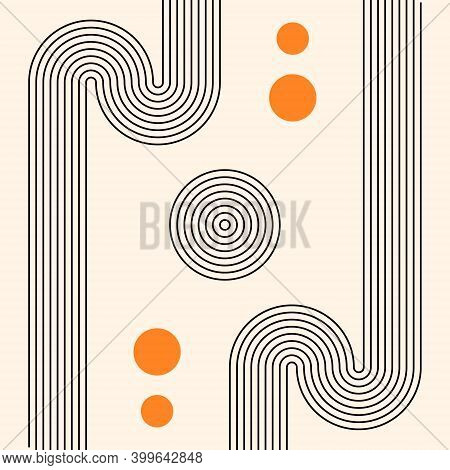 Abstract Boho Poster. Mid Century Art Print. Vector Illustration. Composition With Geometric Shapes