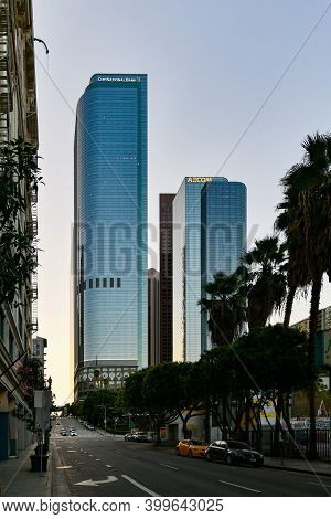 Los Angeles, California - Aug 26, 2020: One And Two California Plaza In Downtown Los Angeles, Califo