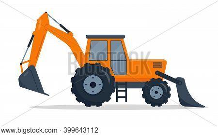 Backhoe Loader. Heavy Construction Machines. Crawler Bulldozer Isolated On White Background. Digger