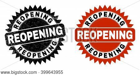 Black Rosette Reopening Seal Stamp. Flat Vector Textured Seal Stamp With Reopening Message Inside Sh