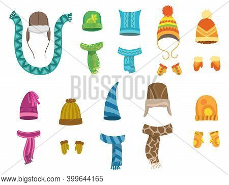 Winter Warm Hats Gloves And Scarves. Clothes For Winter Or Autumn. Stylish Clothes For Cold Weather.