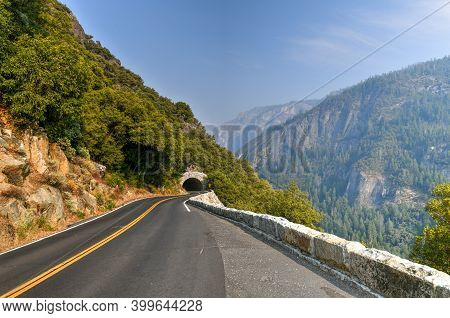 A Hazy Big Oak Flat Road In Yosemite National Park, California.