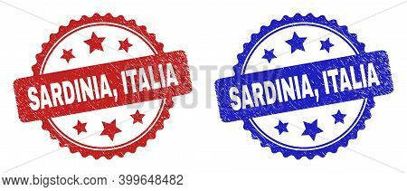 Rosette Sardinia, Italia Watermarks. Flat Vector Textured Watermarks With Sardinia, Italia Phrase In