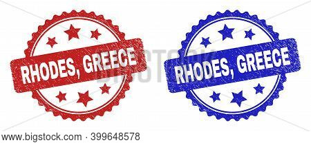 Rosette Rhodes, Greece Seal Stamps. Flat Vector Scratched Stamps With Rhodes, Greece Text Inside Ros